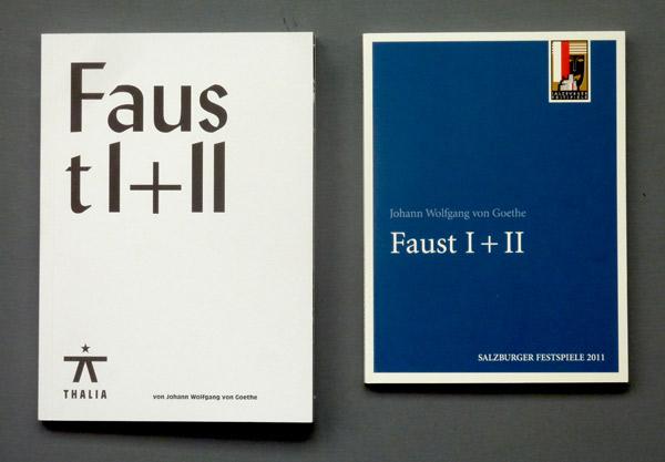 Die beiden Programmbücher für Faust I + II. (links: Thalia Theater Hamburg, rechts: Salzburger Festspiele). Foto: Gudrun Pawelke